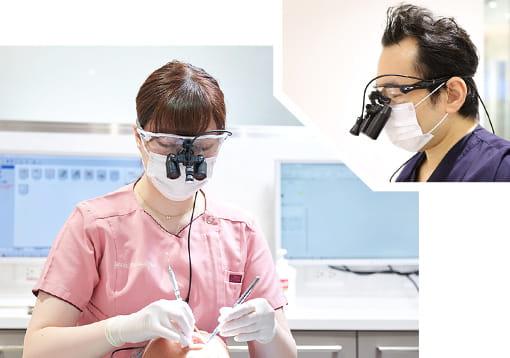 高倍率拡大鏡を使用してどんなに小さなむし歯も見逃さずに治療